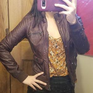 Xhilaration burgundy vegan leather jacket S